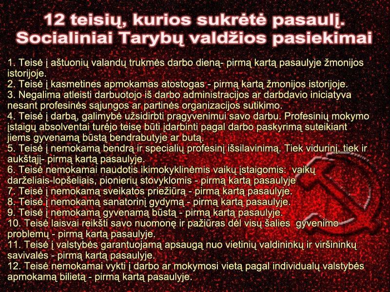 12 Darbo žmonių teisių, kurios buvo įgyvendintos socialistinėje visuomenėje